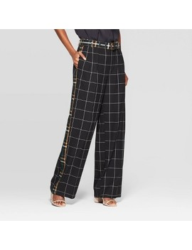 Women's Plaid Mid Rise Wide Leg Print Block Trouser   Who What Wear Black by Rise Wide Leg Print Block Trouser