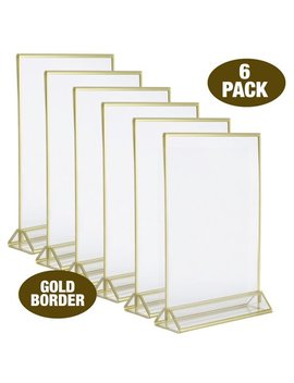Super Star Quality Clear Acrylic 2 Sided Frames With Gold Borders And Vertical Stand (Pack Of 6) by Super Star Quality