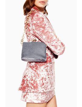 Margot Blue Velvet Frame Bag by Topshop
