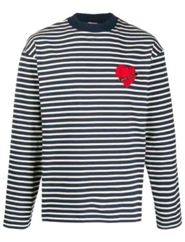Gestreiftes Sweatshirt Mit Herz Patch by Palm Angels