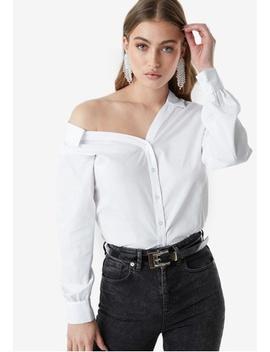 Asymmetric Shoulder Cotton Blend Shirt by Na Kd