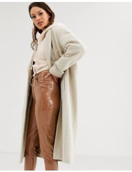 Asos Design Tall – Lang Geschnittener, Strukturierter Mantel In Creme by Asos