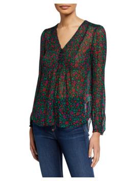 Lowell V Neck Long Sleeve Silk Blouse by Veronica Beard