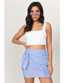 Bridget Blue Stripe Wrap Skirt by Tobi
