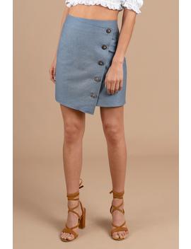 J.O.A. Kate Blue Angle Buttoned Mini Skirt by Tobi