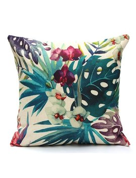 Meigar Tropical Plant Flamingo Couch Cushion Pillow Covers 18x18 Square Zippered Cotton Linen Standard Decorative Waist Throw Pillow Covers Slip Case Protector For Sofa Chair Seat by Meigar