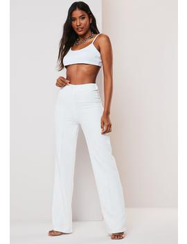 White Co Ord Seam Detail Straight Leg Pants by Missguided