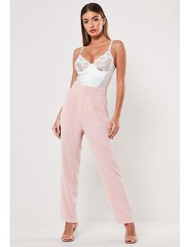 Pink Pleat Detail Waist Cigarette Trousers by Missguided