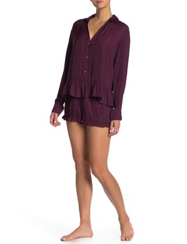 Satin Long Sleeve Shirt & Shorts Pajama 2 Piece Set by Josie