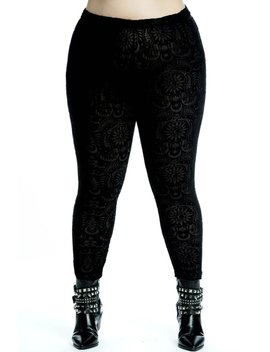 Saiph Burnout Velvet Leggings [Plus] by Killstar