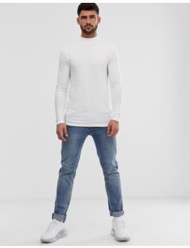Asos Design   T Shirt Van Biologisch Katoen Met Lange Mouwen En Col In Zwart by Asos Design