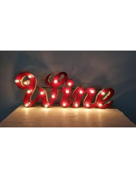 Light Up Red Metal Wine Distressed Vintage Cursive Marquee Sign by Etsy