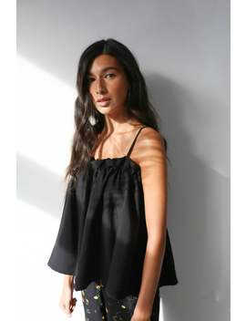 Black Charlie Tank With Ruffle And Thin Straps by Etsy