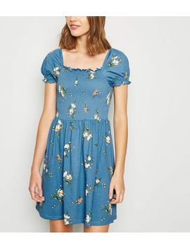 Blue Floral Shirred Milkmaid Dress by New Look