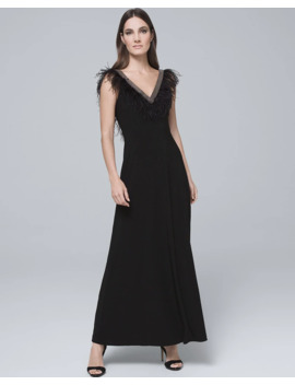 Feather Trim Black Gown by Whbm