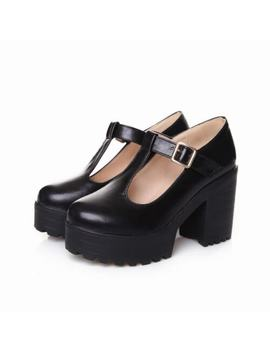 Mary Jane Womens T Strap Platform Chunky High Heel Pump Casual Shoes Plus Size by Ebay Seller