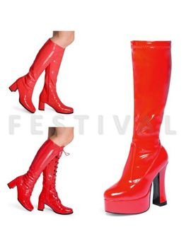 Womens Ladies Fancy Dress 60's 70's Knee High Eyelet Platform Disco Go Go Boots by Ebay Seller