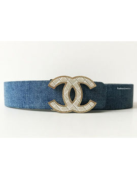Nib Chanel 16 P Pearl Cc Logo Blue Denim Leather Belt 80 32 by Chanel
