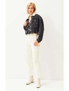 Pac Sun Sherpa Collar Cropped Trucker Jacket by Pacsun