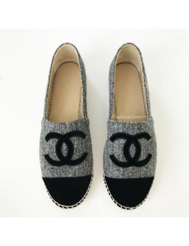 Nib 16 A Chanel Gray Black Tweed Velvet Espadrilles 40 9 by Chanel