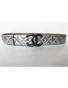 Nib Chanel 14 P Large Cc Logo Ruthenium Silver Quilted Leather Belt 85 34 by Chanel