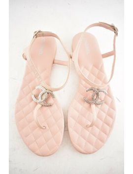 Chanel 18 P Pink Lambskin Quilted Cc Thong Ankle Strap Slide Flat Sandal 39.5 C by Chanel
