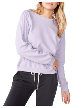 Pintuck Raglan Sleeve Cotton Sweatshirt by Monrow