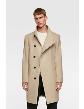 Coat With Asymmetric Collar Outerwearman by Zara
