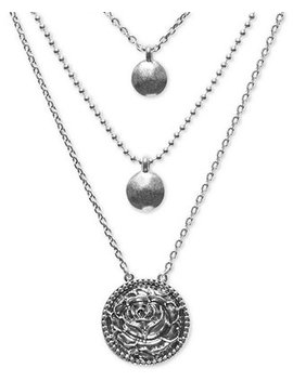 """Silver Tone Multi Strand Necklace, 17"""" 22"""" by General"""