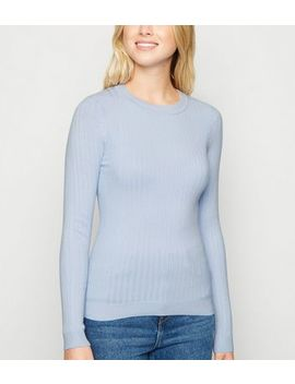 Pale Blue Ribbed Crew Neck Jumper by New Look