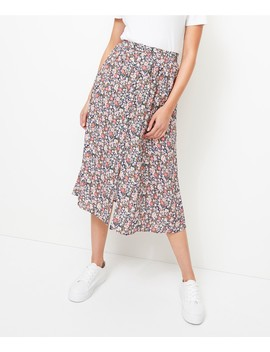 Floral Crepe Button Front Midi Skirt by Sportsgirl