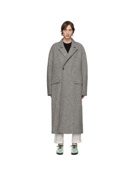 Black & White Ankle Length Oversized Coat by Haider Ackermann