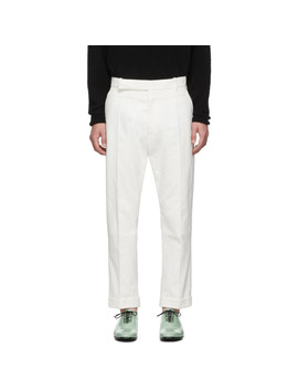 White Contrast Waistband Trousers by Haider Ackermann