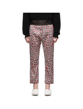 Grey & Red Contrast Waistband Trousers by Haider Ackermann