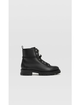 Up Track Sole Leather Ankle Boots by Stradivarius
