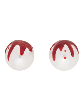 White Yvmin Edition Pearl Blood Earrings by Shushu/Tong