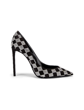 Zoe Checkered Satin Pumps by Saint Laurent