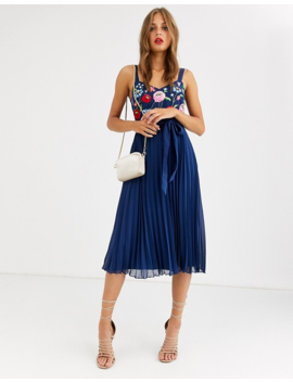 Asos Design Embroidered Pleated Cami Midi Dress by Asos Design