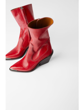 Leather Cowboy Heel Ankle Boots With Metal Trimshoes Woman Shoes & Bags by Zara