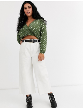 Asos Design Curve Wrap Top With Batwing Sleeve In Spot Print by Asos Design