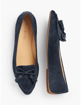 Francesca Tassel Tie Driving Moccasins   Suede by Talbots