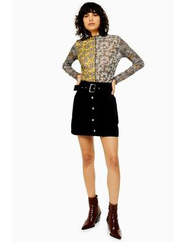 Button Down Belted Denim Skirt by Topshop