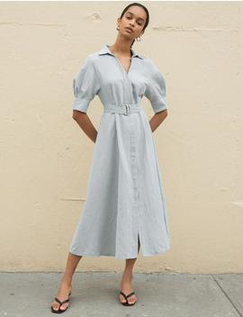 Simone Grey Belted Midi Dress by Pixie Market