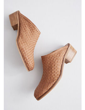 Wonderfully Woven Leather Mule by Modcloth