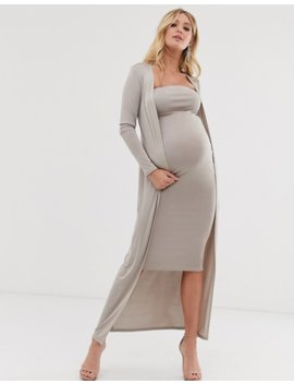 Asos Design Maternity Ruched Bandeau Midi Dress And Drape Jacket Set by Asos Design