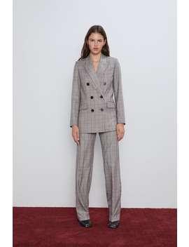 Double Breasted Plaid Jacket Blazerswoman by Zara