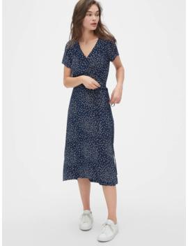 Print Midi Wrap Dress by Gap