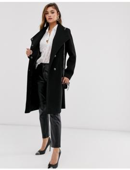 Asos Design – Eleganter Mantel In Schwarz Mit Wickelfront by Asos