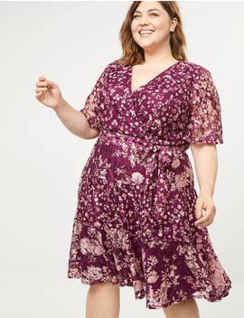 Floral Lace Faux Wrap Fit & Flare Dress by Lane Bryant