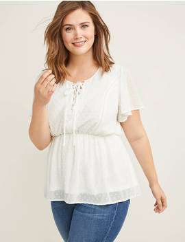 Lace Up Textured Floral Top by Lane Bryant